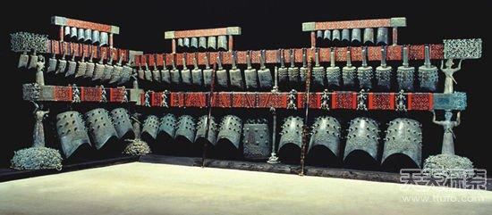 曾侯乙编钟,编钟是由六十五件青铜编钟组成的庞大乐器,其音域跨五个