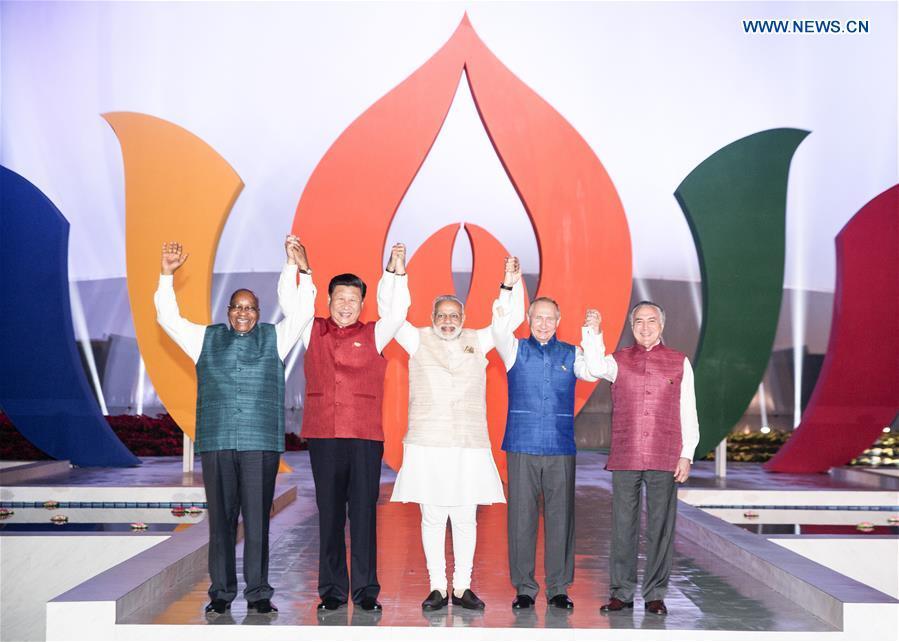 BRICS leaders pose for group photo before informal dinner