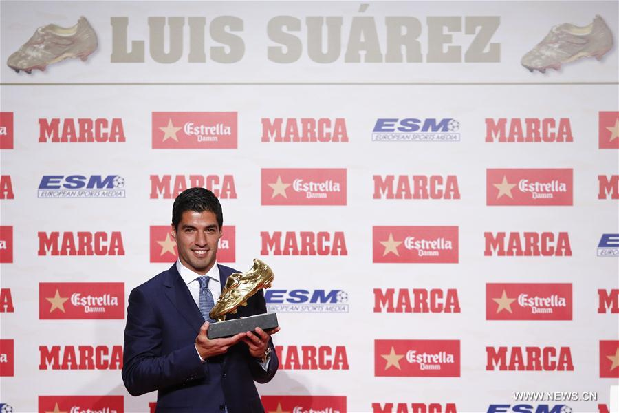 (SP)SPAIN-BARCELONA-LUIS SUAREZ-GOLDEN BOOT