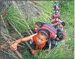Children get safer way to traverse 800m cliff