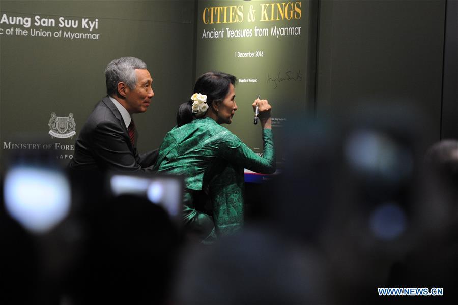 SINGAPORE-MYANMAR-AUNG SAN SUU KYI-VISIT-EXHIBITION