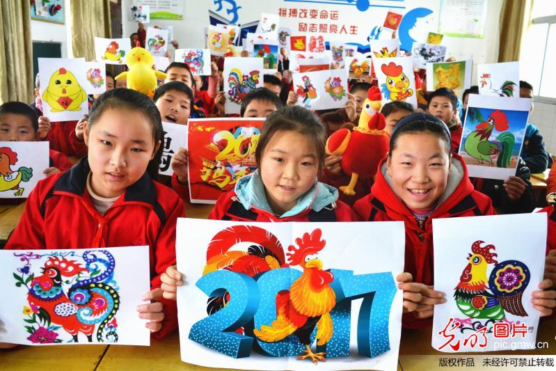 Paintings collected by children for upcoming Chinese New Year
