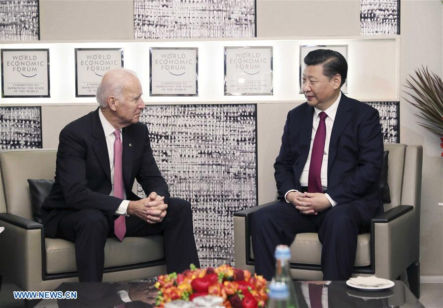 SWITZERLAND-DAVOS-CHINA-XI JINPING-BIDEN-MEETING