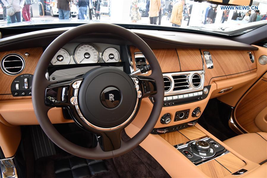 Photo taken on Feb. 16, 2017 shows the interior decor of a Rolls Royce Dawn in Monte Carlo, Monaco.