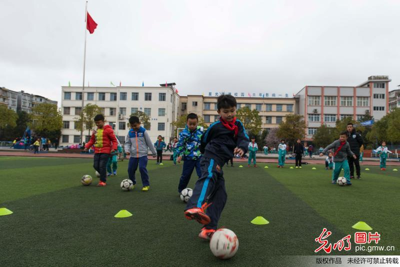 Students happy to play football in SW China's Guizhou