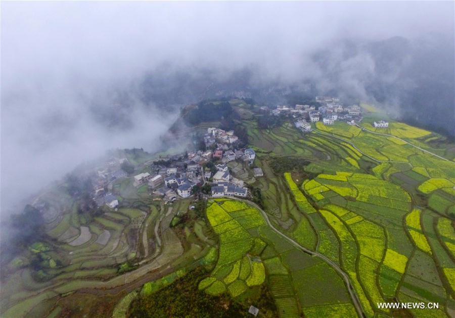 Photo taken on March 15, 2017 shows the aerial view of Shimen Village of Huaxi District under Guiyang City, capital of southwest China's Guizhou Province.