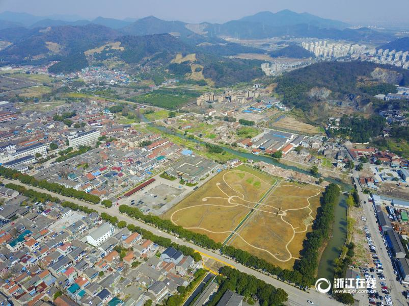 Aerial view of butterfly-shaped field in Zhejiang