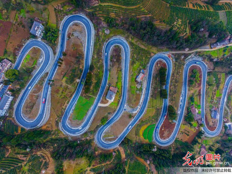 Winding road contributes to local economic growth in C China's Hubei