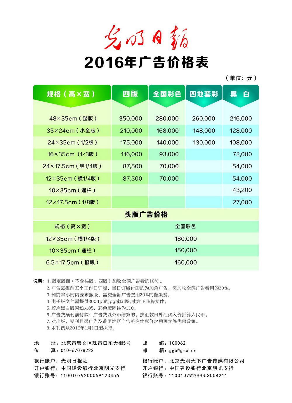 2016年光明日报广告报价