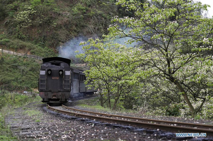 Scenery of Jiayang narrow gauge train in southwest China