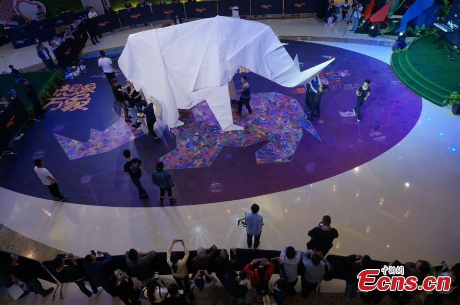 4-meter-tall paper rhino sets Guinness record