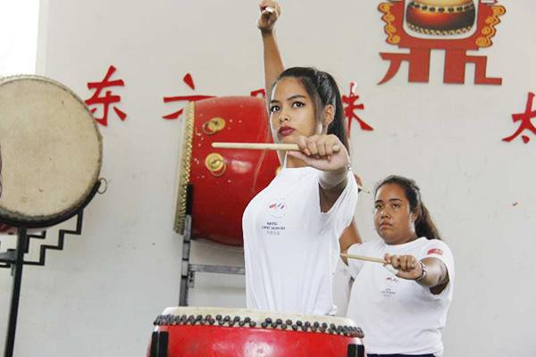 French students channel the art of drumming in Taiyuan