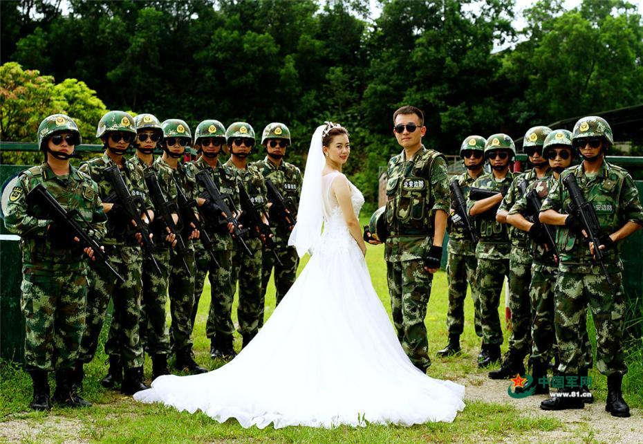 Romantic wedding photos taken at military school in S China's Guangzhou
