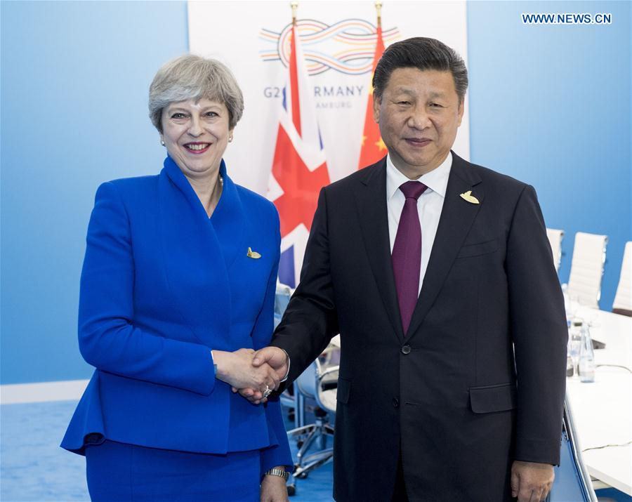 GERMANY-HAMBURG-XI JINPING-BRITISH PM-MEETING