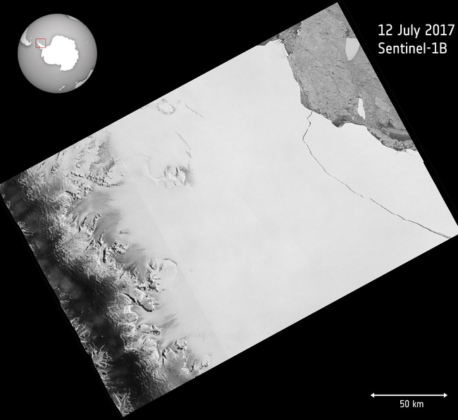 The image released by European Space Agency ESA shows a photo taken by the Copernicus Sentinel-1 mission on July 12, 2017 when a lump of ice more than twice the size of Luxembourg has broken off the Larsen-C ice shelf in Antarctica, spawning one of the largest icebergs on record and changing the outline of the Antarctic Peninsula forever. [Photo: AP]