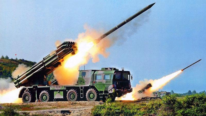 Long-range rocket guns displayed