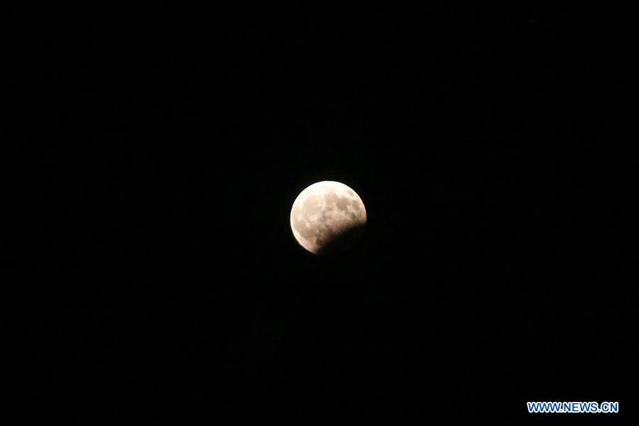 GREECE-PELOPONNESE-FULL MOON-PARTIAL LUNAR ECLIPSE