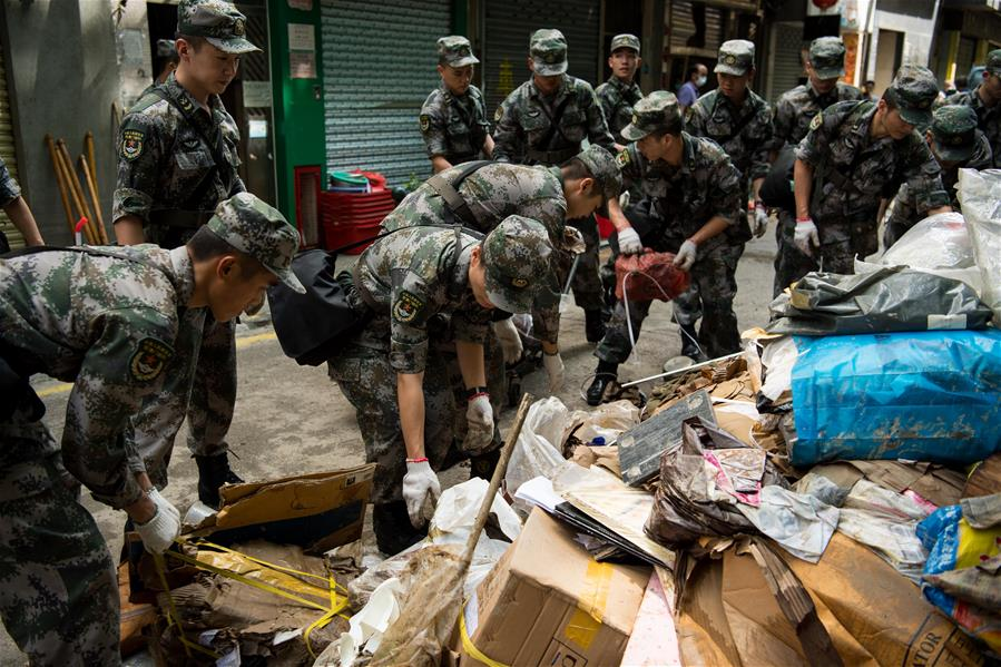 CHINA-MACAO-PLA-TYPHOON HATO-DISASTER RELIEF (CN)