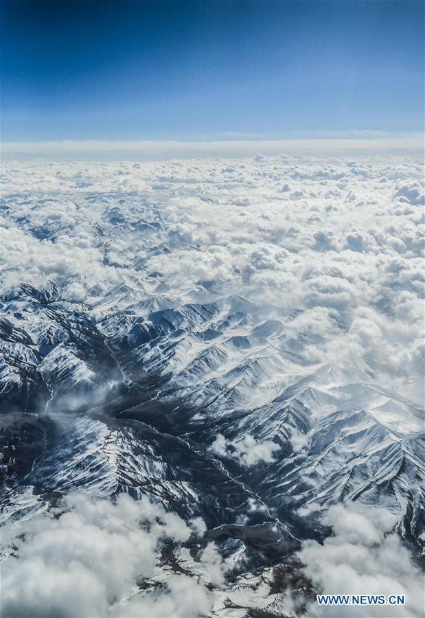 CHINA-QINGHAI-BAYAN HAR MOUNTAINS-SNOW-AERIAL VIEW (CN)