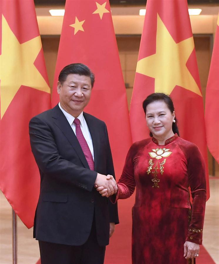 VIETNAM-HANOI-CHINA-XI JINPING-NGUYEN THI KIM NGAN-MEETING