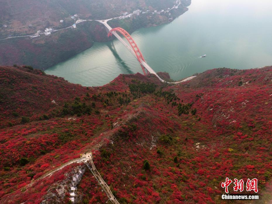 Aerial view of Three Gorges Reservoir Region in SW China's Chongqing