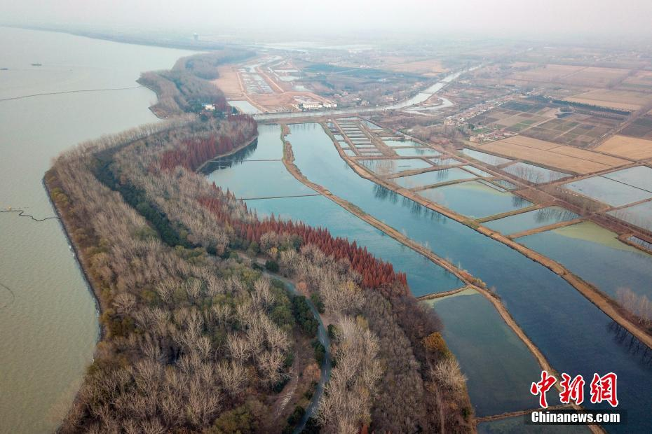 Aerial view of Hongze Lake ancient weir in E China's Jiangsu Province