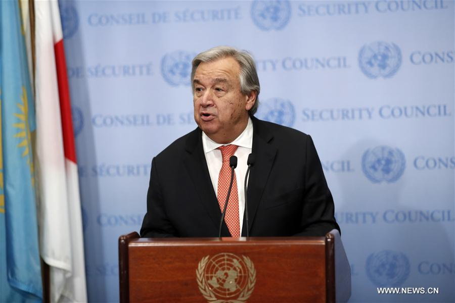 UN-SECRETARY-GENERAL-ANTONIO GUTERRES-ISRAELI-PALESTINIAN PEACE PROCESS-PRESS ENCOUNTER