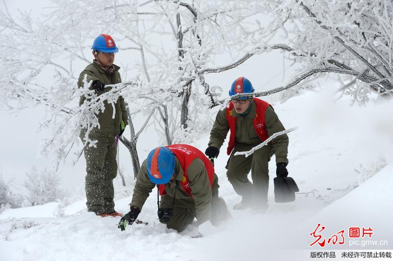 Workers inspect power transmission lines after heavy snowfall in C China