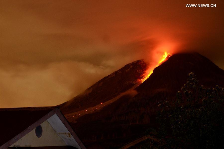 Mount Sinabung spews lava and ash in North Sumatra