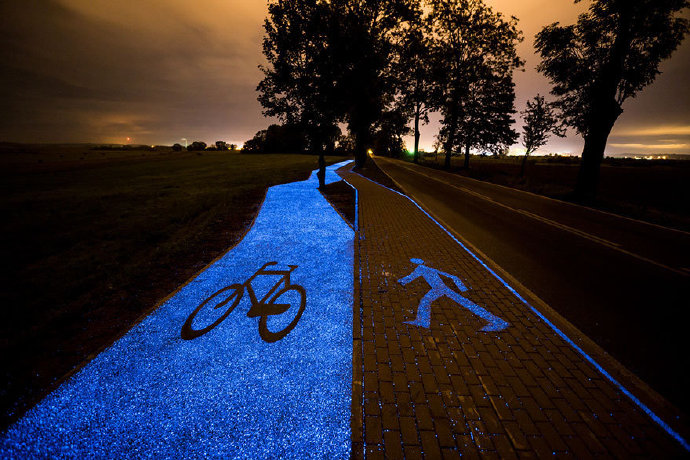 Beautiful luminous bicycle path in Poland.