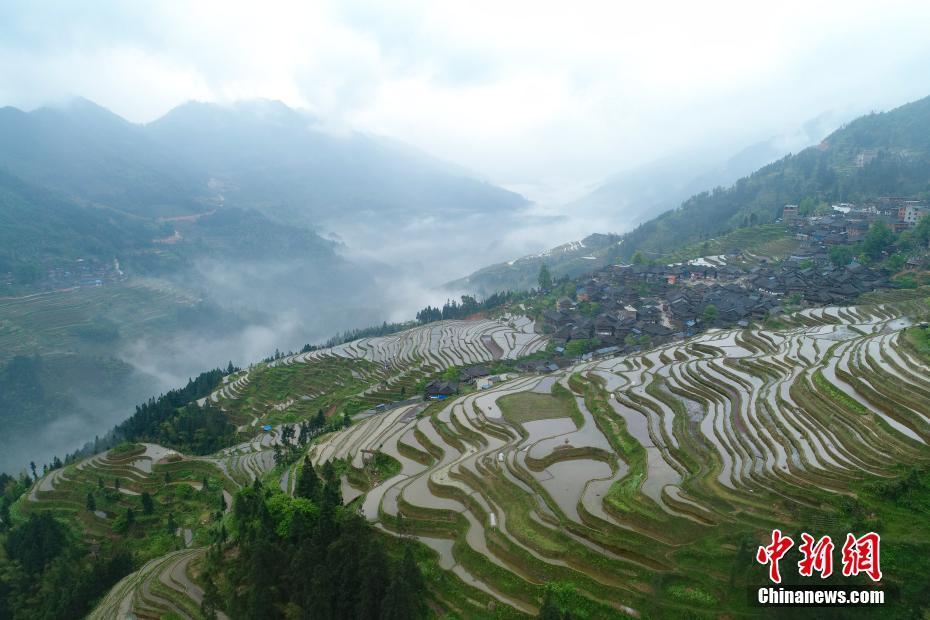 Early morning fog scenery of Congjiang village in China's Guizhou