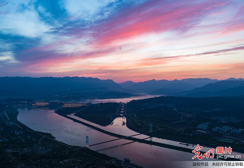Amazing sunset glow of the Three Gorges Dam in Yichang