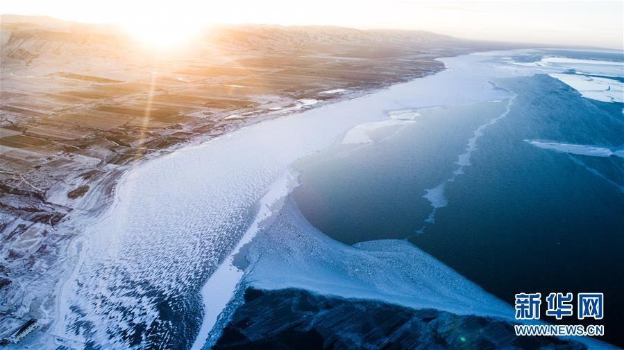 Amazing winter scenery of Qinghai Lake