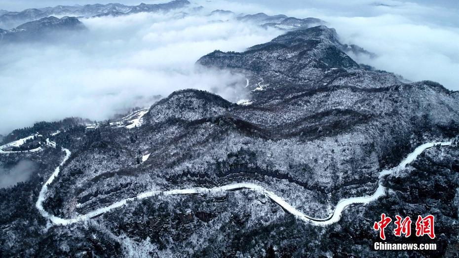 Picturesque scenery of snow-covered Zhangjiajie in C China's Hunan