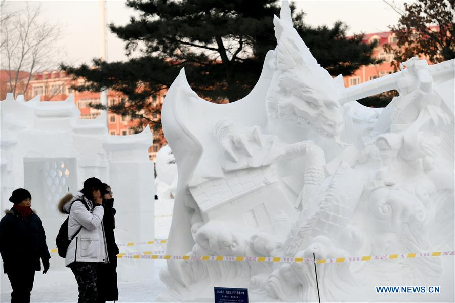 CHINA-HEILONGJIANG-HARBIN-COLLEGE STUDENT-SNOW SCULPTURE COMPETITION (CN)