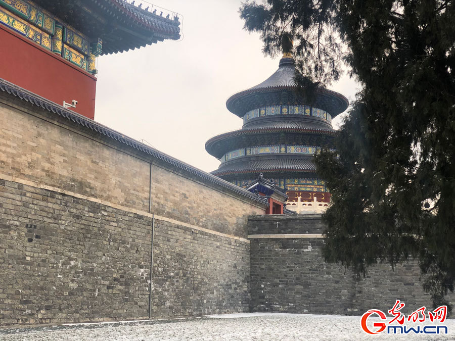 Scenery of Temple of Heaven Park after snowfall in Beijing