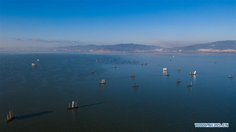 In pics: allowable harvesting period for Dianchi Lake in Kunming, SW China's Yunnan