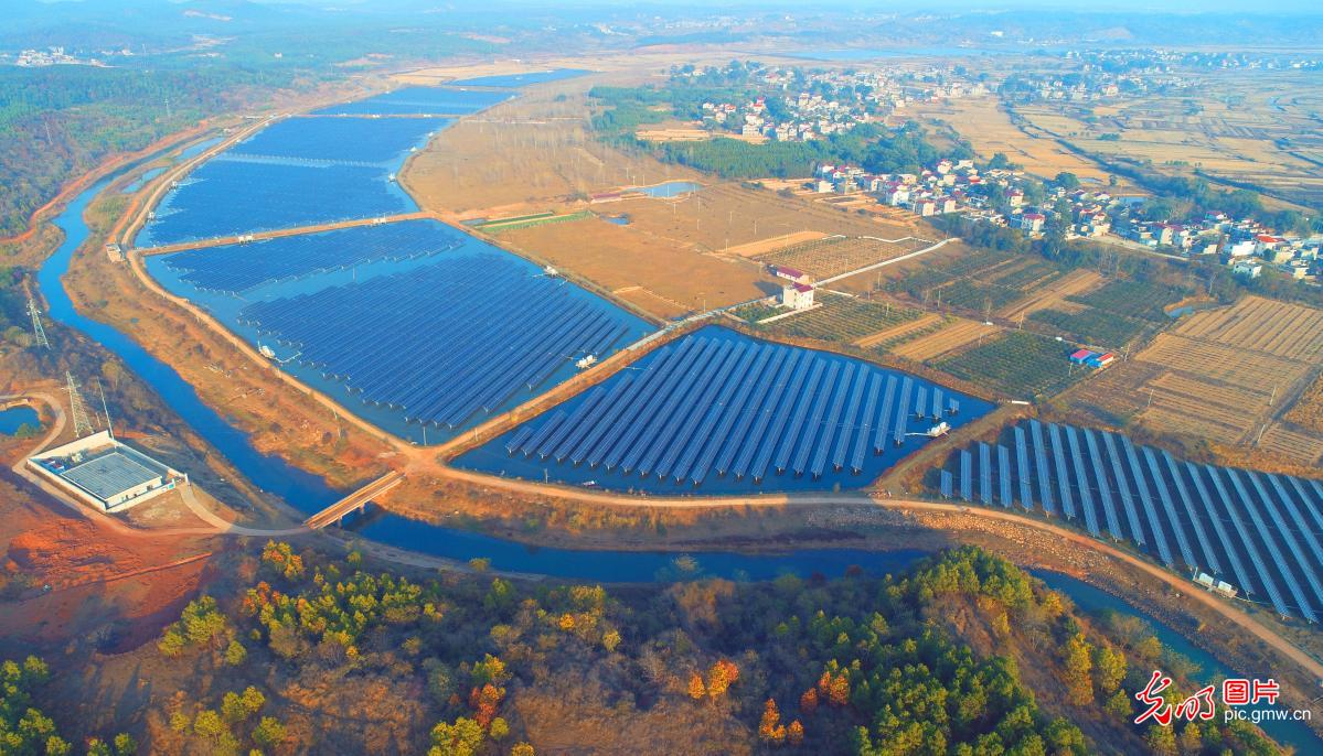 Aerial view of PV power plant in E China's Jiangxi