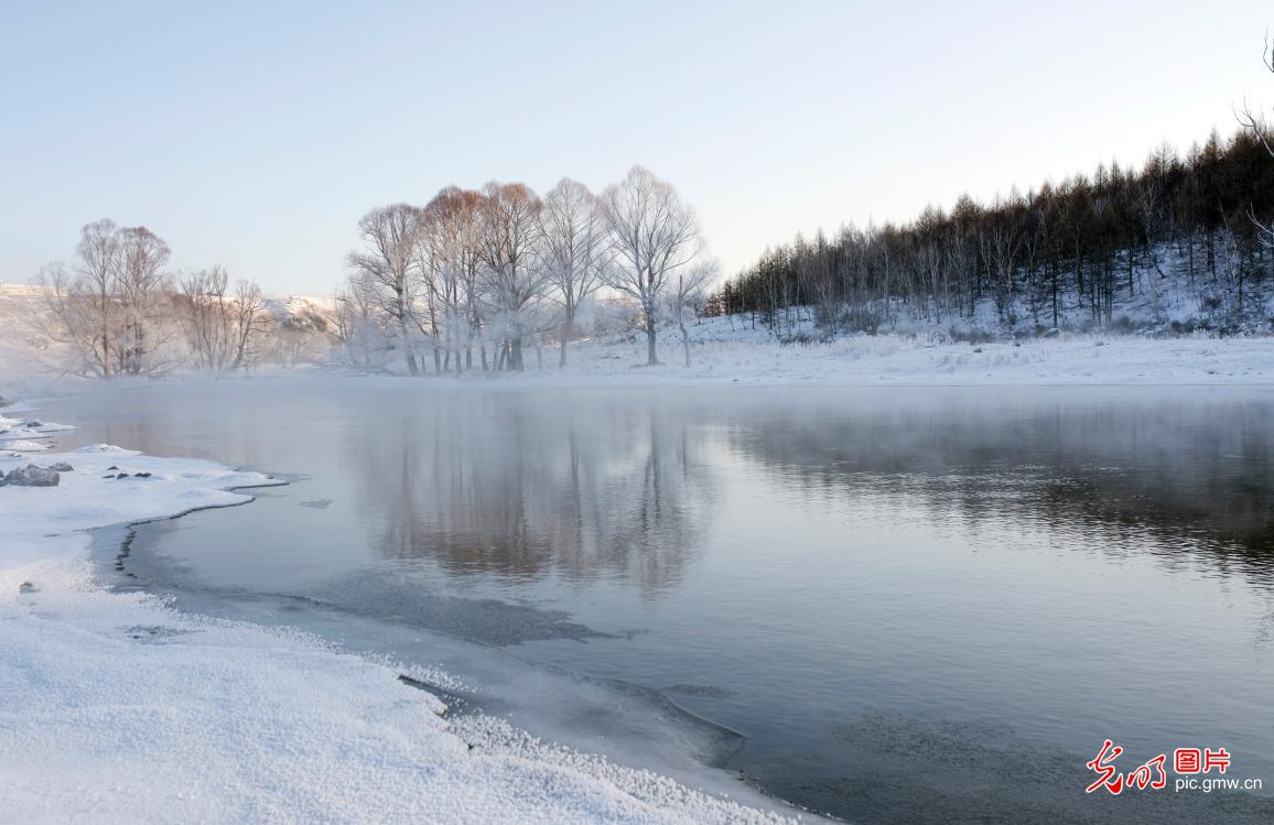 Unfrozen river in N China's Inner Mongolia
