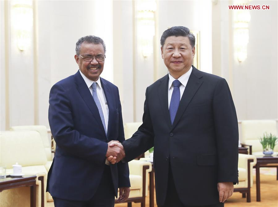 CHINA-BEIJING-XI JINPING-WHO CHIEF-MEETING (CN)