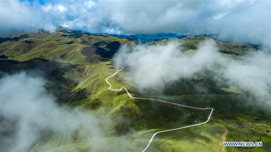 Aerial view of plateau highway in Sichuan
