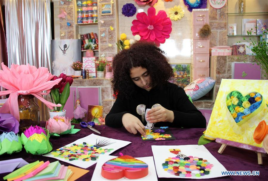 MIDEAST-GAZA-PAPER QUILLING-ART