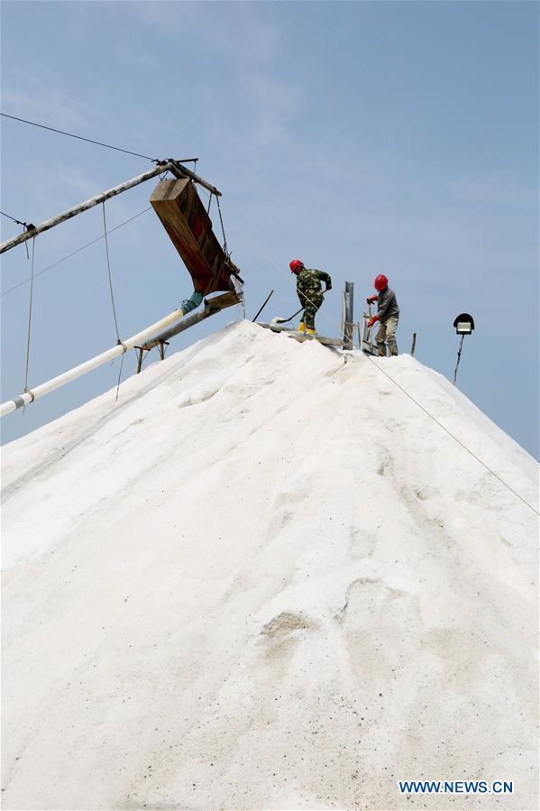 People work at salt field in Lianyungang, Jiangsu