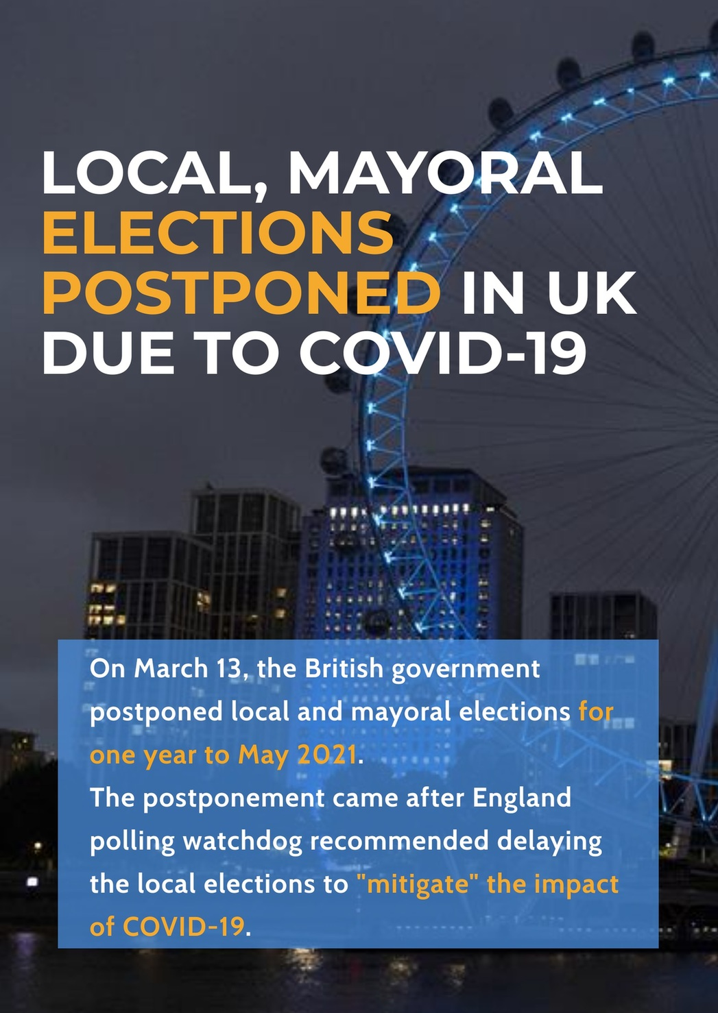 Local, mayoral elections postponed in UK due to COVID-19