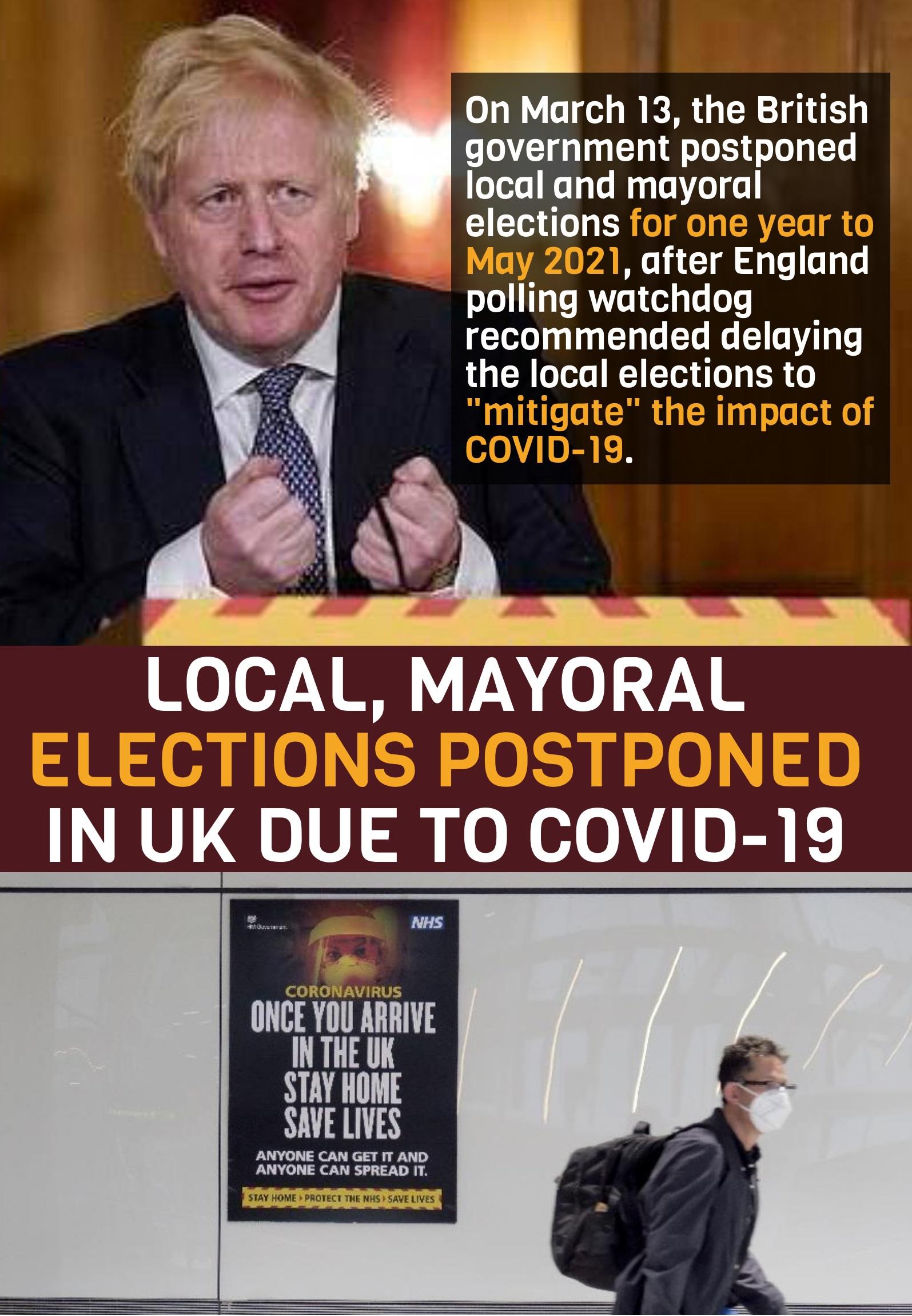 Elections postponed concerning coronavirus: UK agreed