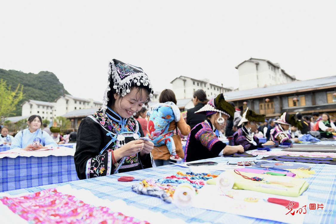 Embroidery competition in SW China's Guizhou Province