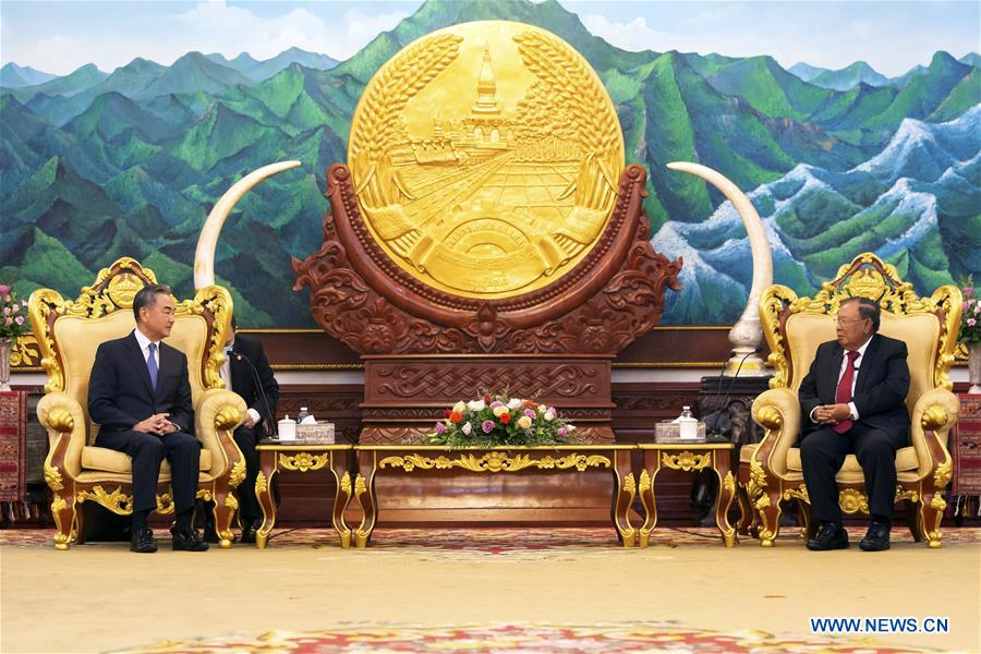 LAOS-VIENTIANE-LAO PRESIDENT-CHINESE FM-MEETING