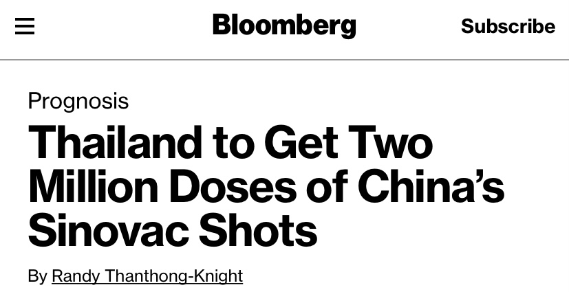 China's Covid-19 vaccine expected to get Thailand out of a second outbreak, Bloomberg reported