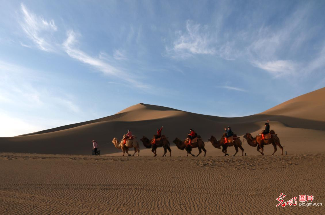 People visiting Dunhuang amid Qingming Festival