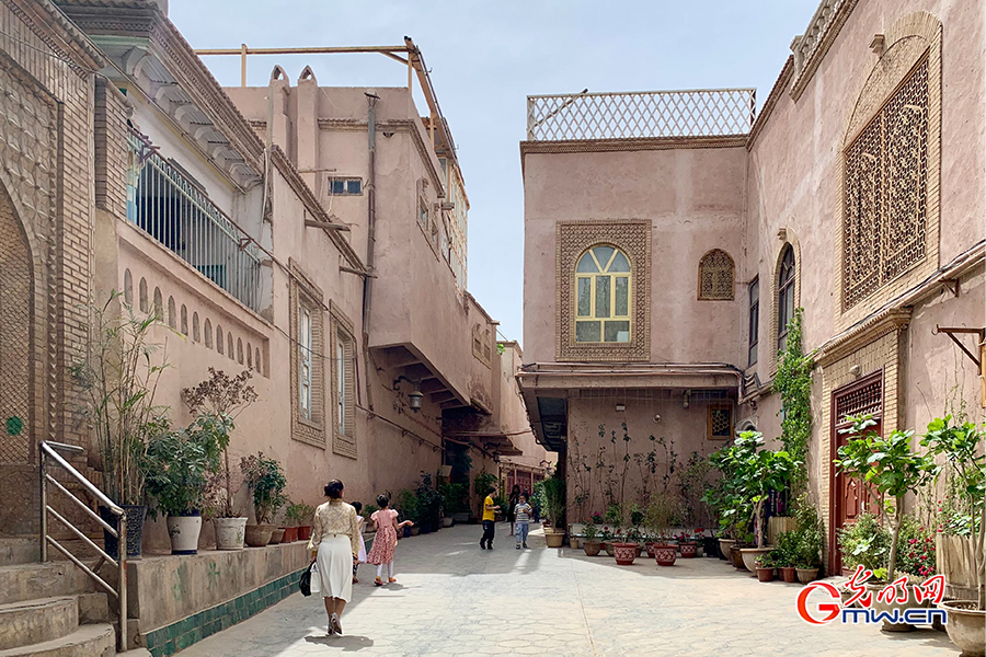 Traditional architecture in ancient city of Kashgar, NW China's Xinjiang